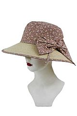 Preppy Bow Print Fabric Sun Hat