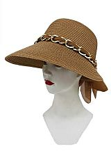 Rounded Crown Chain & Chiffon Detailed Sun Hat
