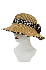 Leopard Trim And Flower Brioche Decorated Sun Hat